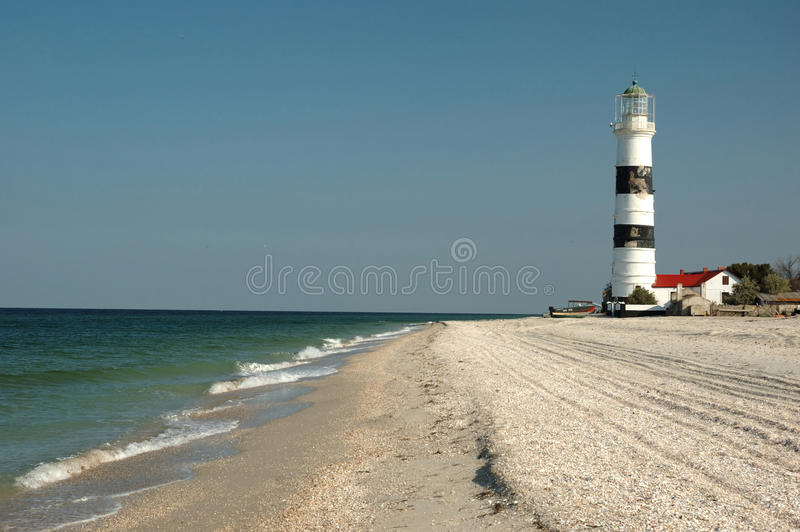 Old lighthouse on Tendra island royalty free stock photo