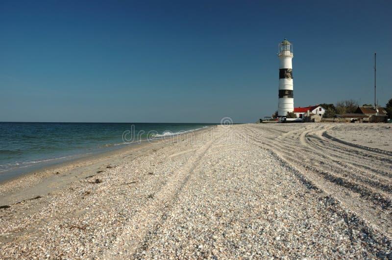 Old lighthouse on Tendra island stock photos