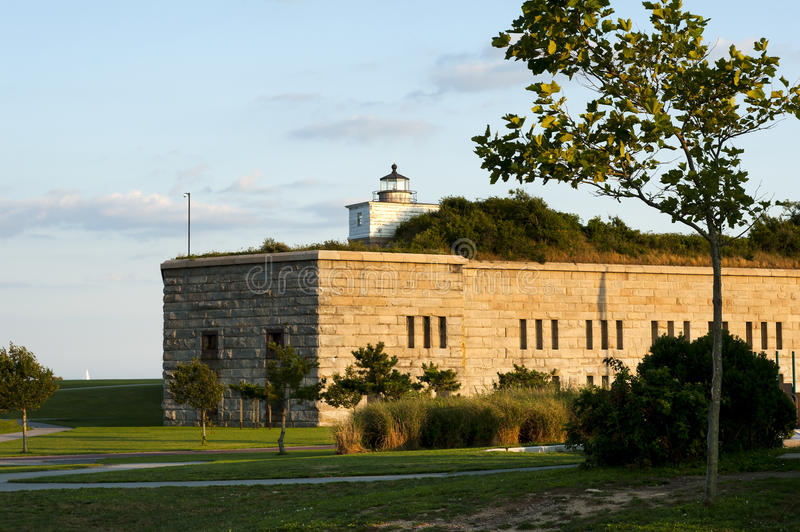 Old Lighthouse Tower On Top of Fort stock photo