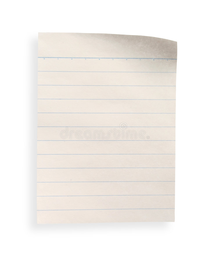 Download Old Lined Paper With Clipping Path Stock Photo - Image of note, adhesive: 2018636