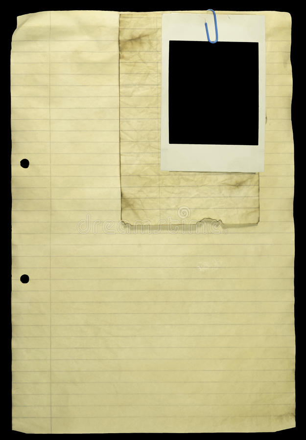 Download Old Lined Paper With Paper Clip And A Polaroid. Stock Photo - Image: 11365522
