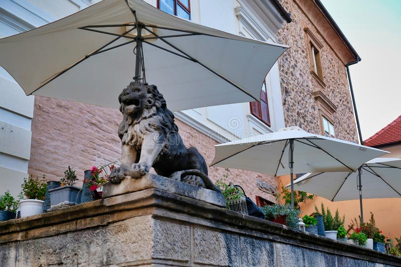 Lion Statue on Shaded Zagreb Balcony, Croatia. An old lion statue and colourful pot plants on an outdoor seating area balcony or terrace shaded by large royalty free stock image