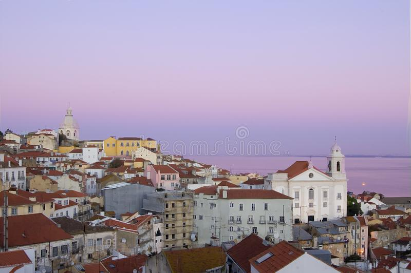 Old lisbon at sunset royalty free stock photography