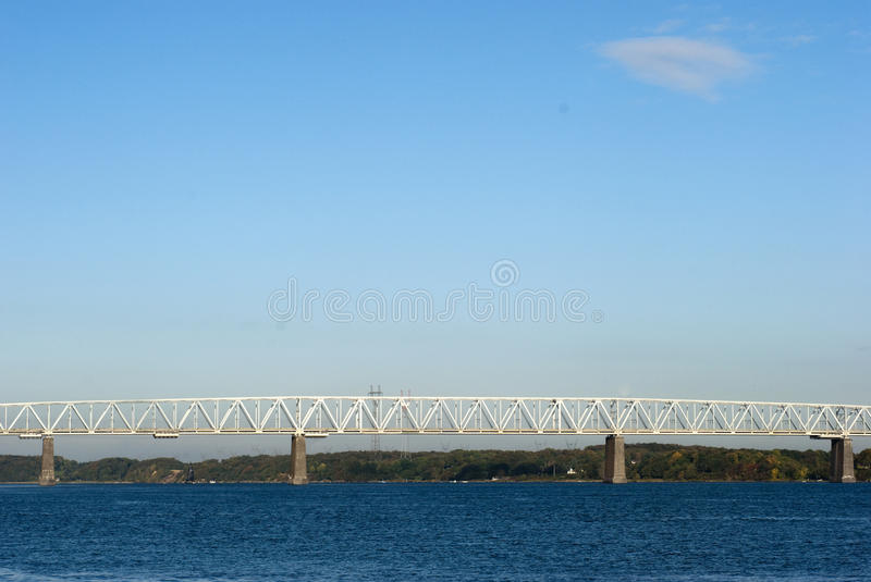 Old Little Belt Bridge. And sea. View from Middelfart harbor royalty free stock photography