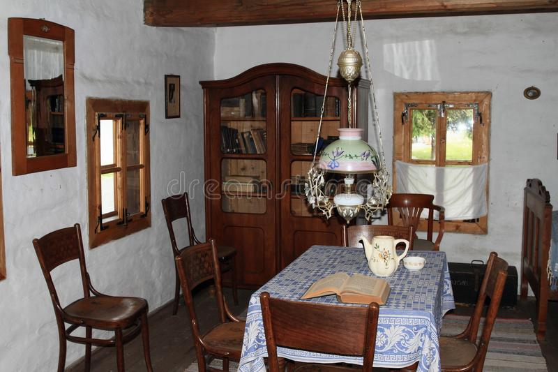 Living room in village house in open-air museum stock images