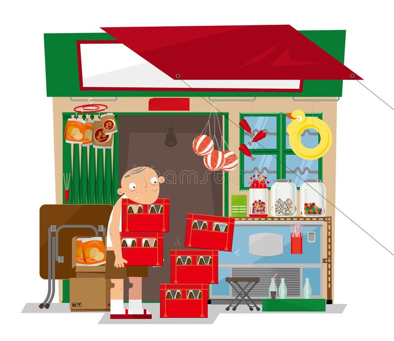 A old local convenience store in Hong Kong. Vector illustration of a old local convenience store in Hong Kong. This small retail business stocks a range of items vector illustration