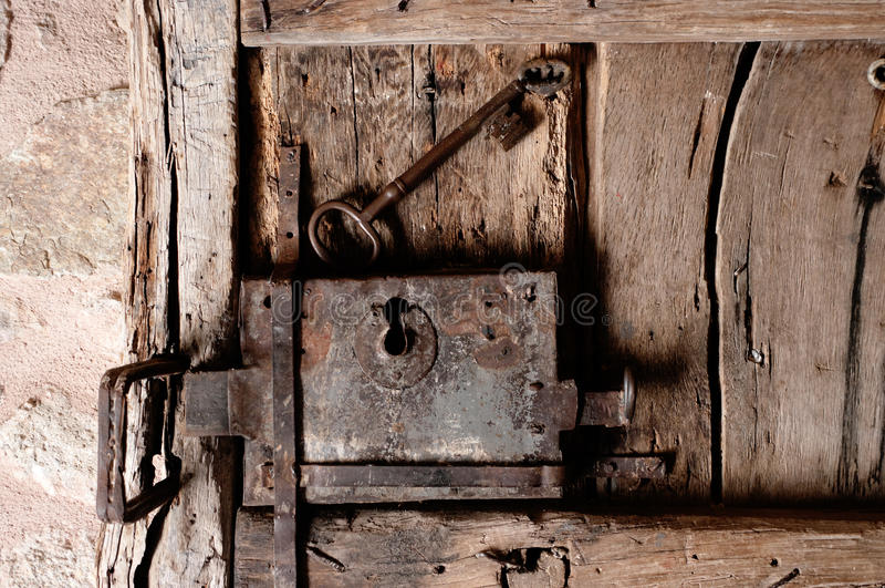 Old lock with key stock photos