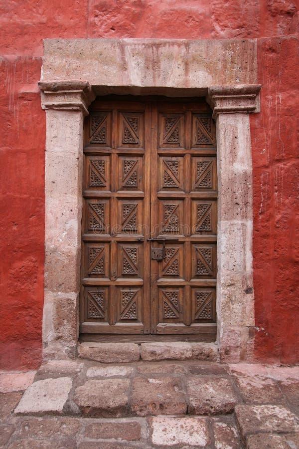 Old locked door stock photography