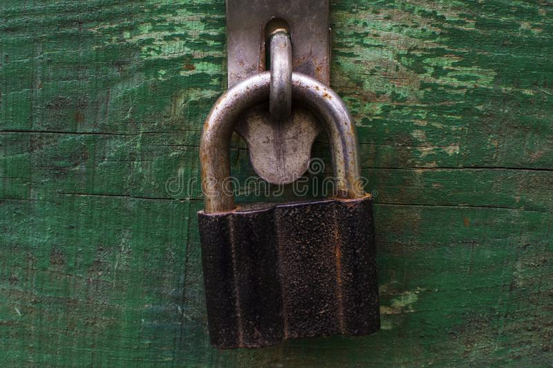 Old locked lock chest royalty free stock photo