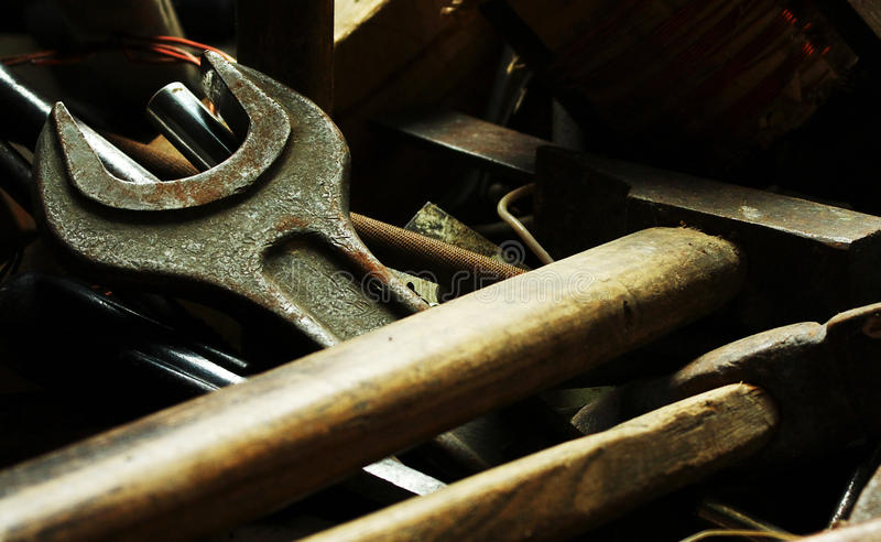 Download Old Locksmith Tools On The Dark Stock Image - Image: 12370547