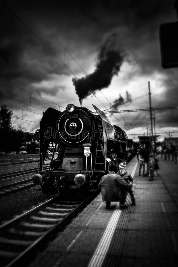 Old locomotive in black and white. stock photo
