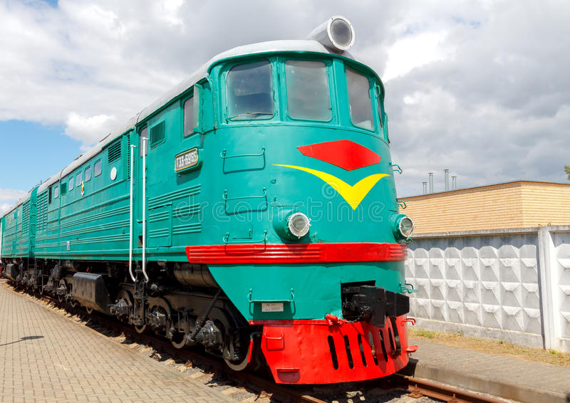 Old locomotive. Brest, Belarus - July 12, 2015: Old locomotive parked. Locomotives played a crucial role in the economy of the last century stock photos