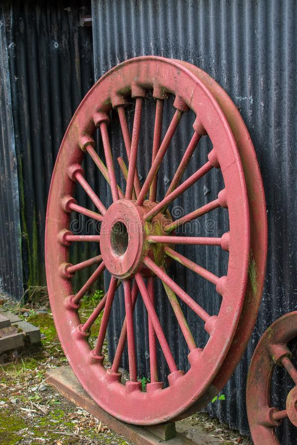 Free Old Locomotive Red Wheel, Leaning Against A Shed. Selective View. Royalty Free Stock Image - 157028646