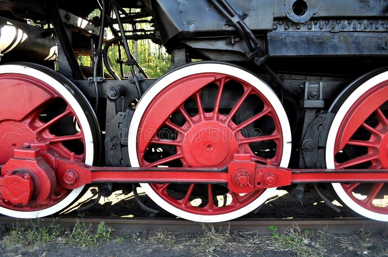 Download Old locomotive red wheels stock photo. Image of rail - 19437974