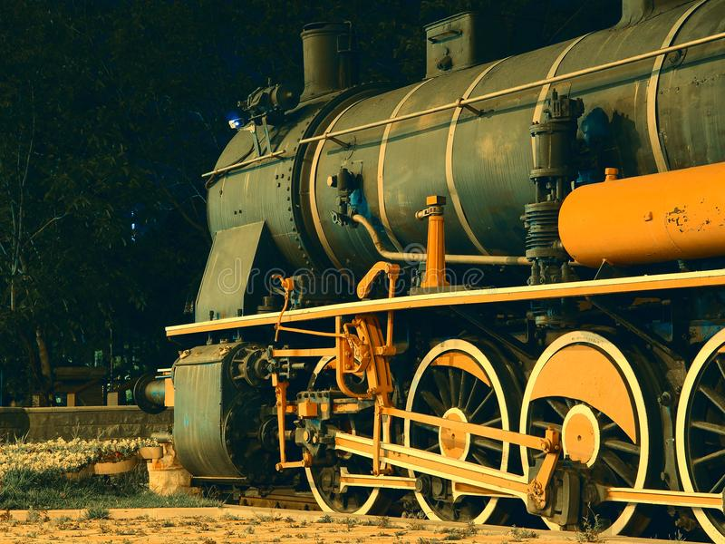 The old locomotive standing on the rails.  royalty free stock images
