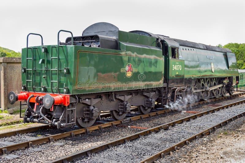 Old locomotive. Standing at train station, Europe - England - photo taken: 28.05.2016 stock photos