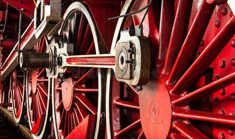 Old locomotive wheels stock photography