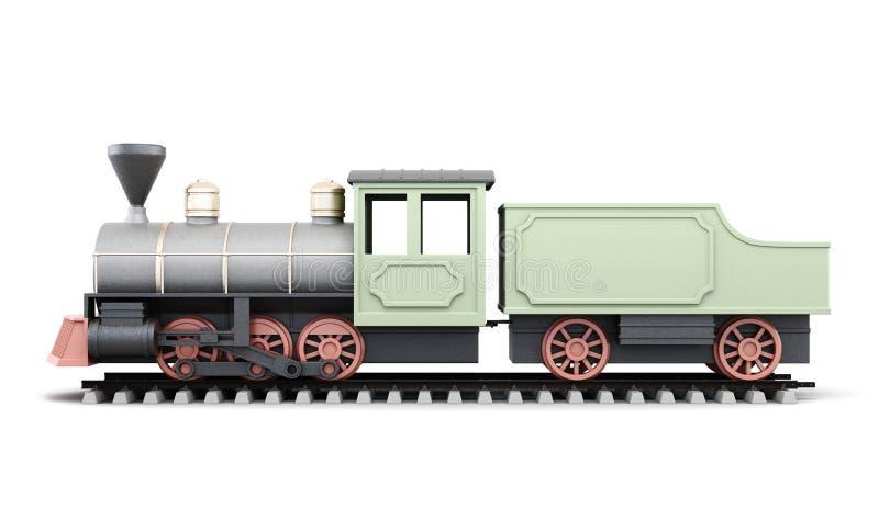 Old locomotive on a white background. 3d render image. royalty free illustration