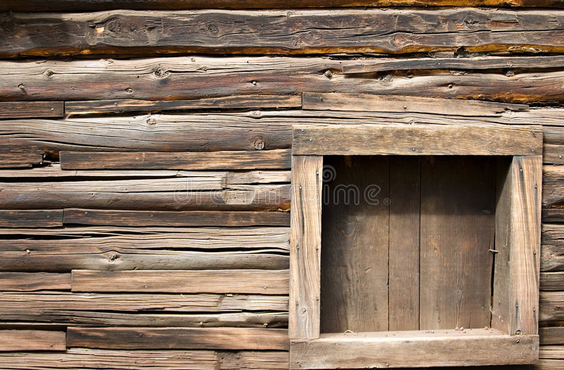 Old log cabin window royalty free stock images