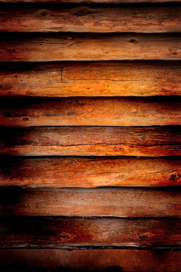 Old log cabin wood wall background stock image