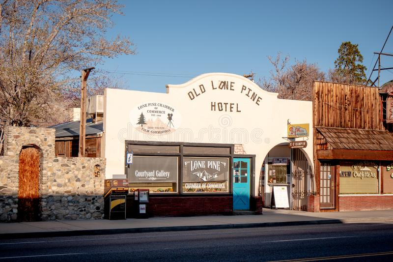 Old Lone Pine Hotel - LONE PINE CA, USA - MARCH 29, 2019. Old Lone Pine Hotel - LONE PINE CA, UNITED STATES OF AMERICA - MARCH 29, 2019 stock photos