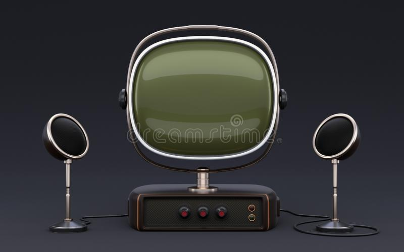 Old looking TV set with speakers. Vintage old looking TV set with speakers on dark background. Can be used for place some image or video on display vector illustration