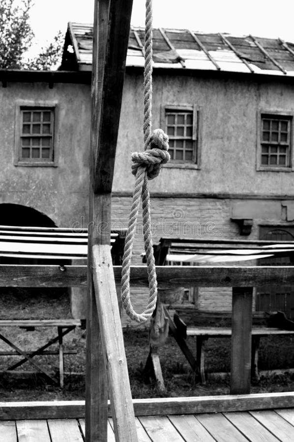 Old loop for the hanged man. A rope on an eshaafota. stock images