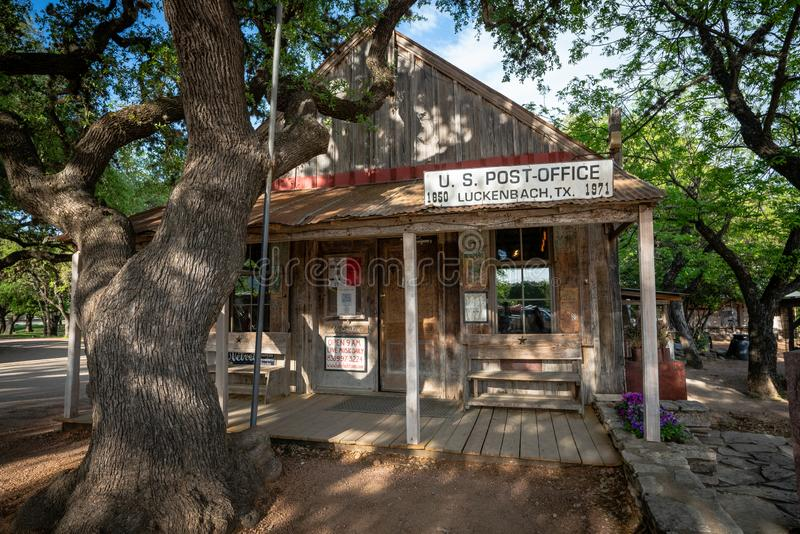 Luckenbach post office Texas USA. Old Luckenbach post office, Texas USA. Now a bar and country music destination. Sunny exterior view on a sunny day surrounded stock photos