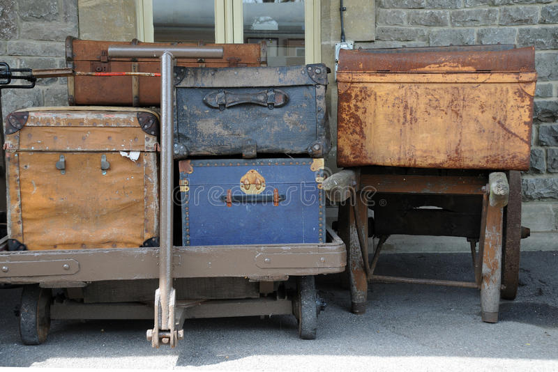 Download Old luggage on carts stock image. Image of train, trolley - 18301097