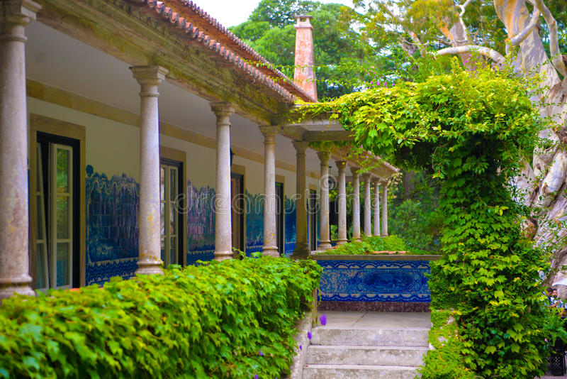 Country House, Balcony Marble Columns, Mansion, Luxury Estate, Hand Painted Tiles Wall stock images
