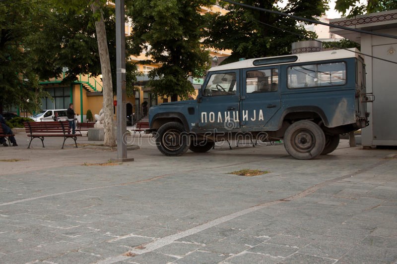 Old macedonian offroad police car. In the capital Skopje stock photo