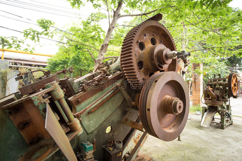 Old machine. In the factory stock photo