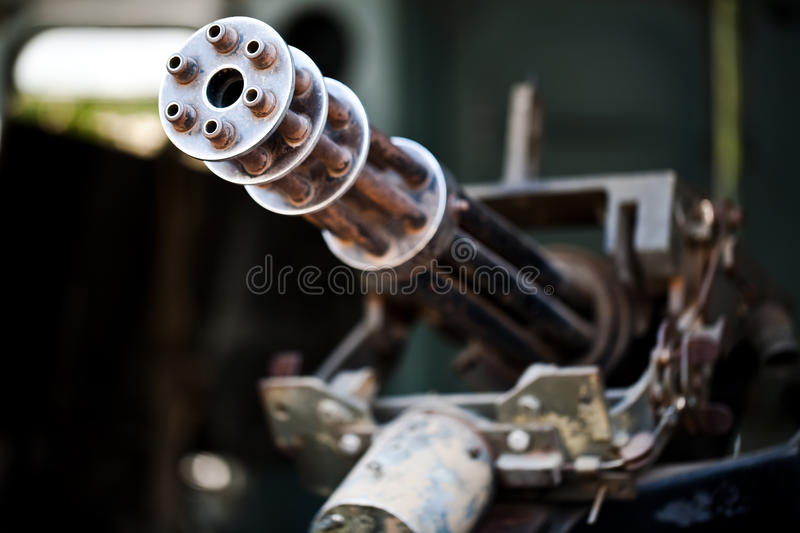 Old machine gun. On the helicopter royalty free stock images