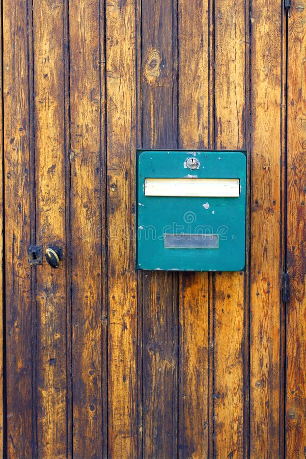 Old mailbox embedded ancient wood door france royalty free stock images