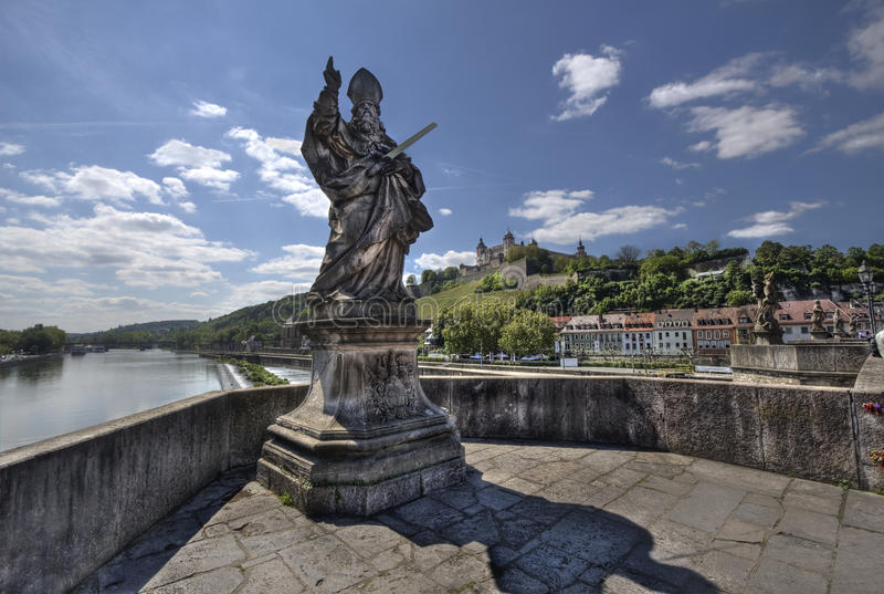 Old Main Bridge Wurzburg, Germany. Statue on the Old Main Bridge in Wurzburg, Germany royalty free stock photos