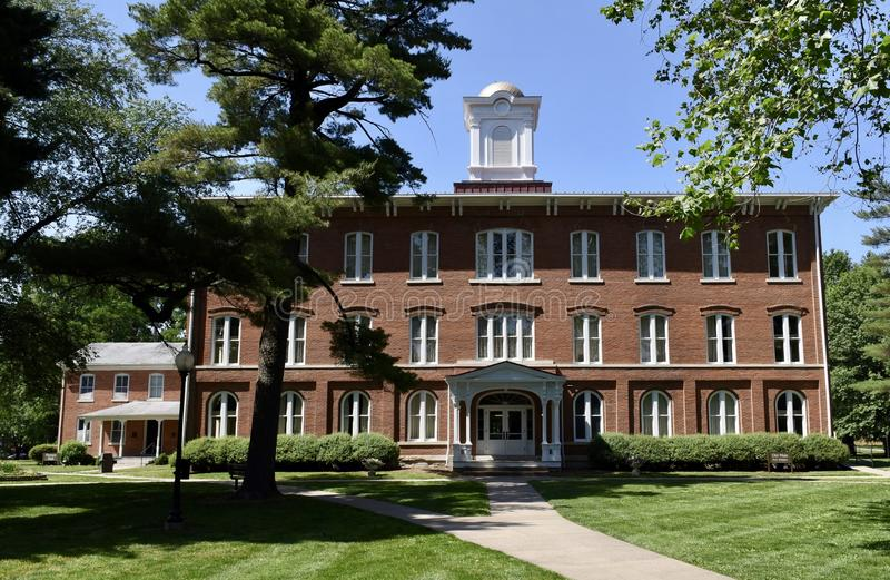 Old Main. This is a Spring picture of `Old Main` on the campus of Iowa Wesleyan University located in Mount Pleasant, Iowa in Henry County. The building was stock photography