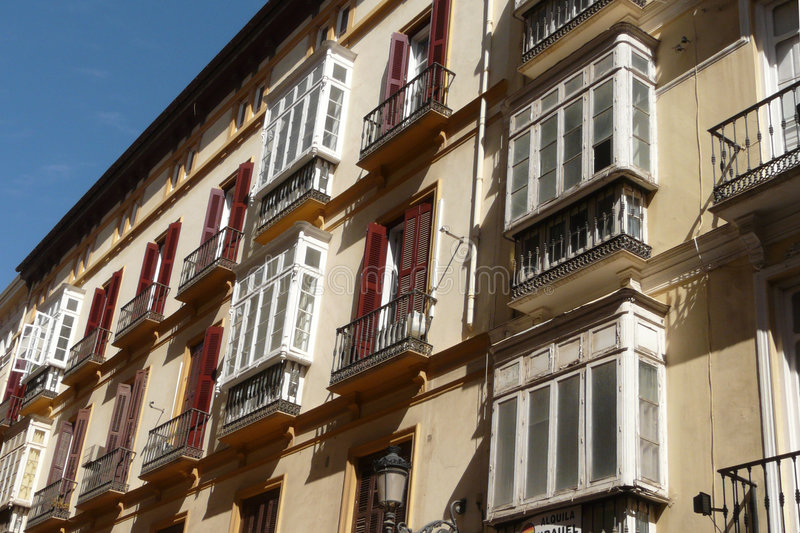 Old Malaga's buildings. Old buildings in a street of Malaga's center, Andalucia stock images