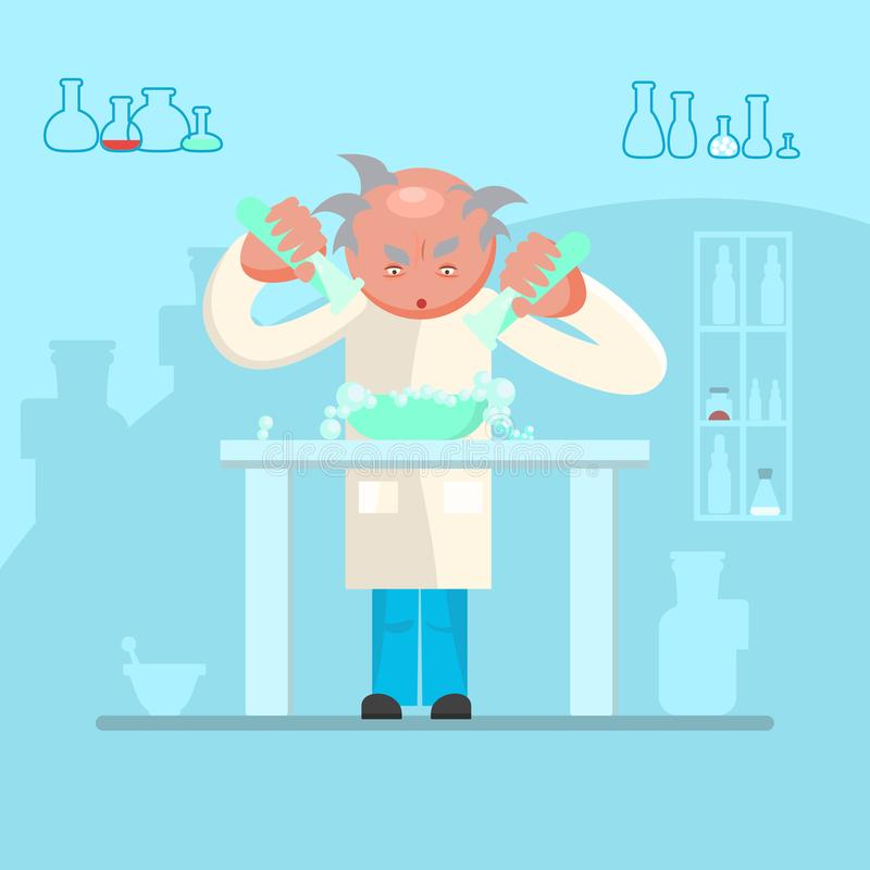 Male scientist in lab room royalty free illustration