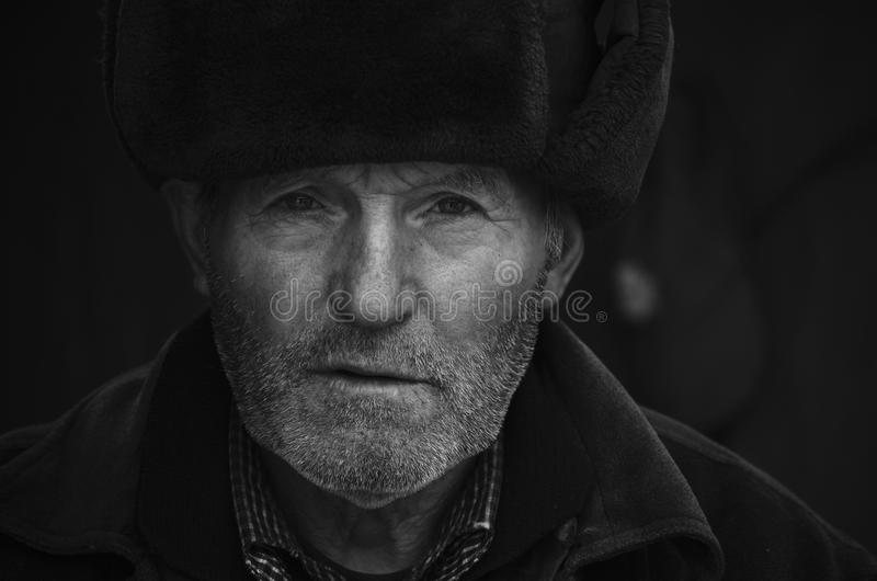 Old man. Black and white portrait of an old man royalty free stock photo