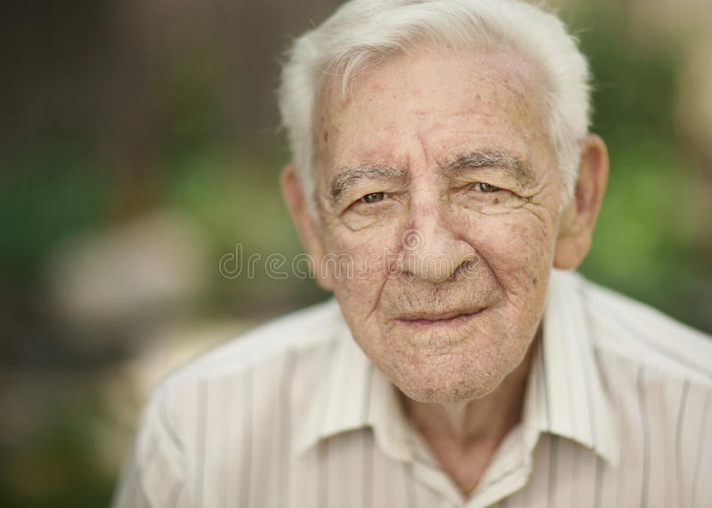 Old man. Serious expression 90 year old elder senior man