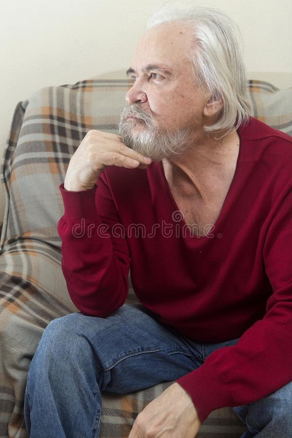 The old man in the armchair at home royalty free stock image