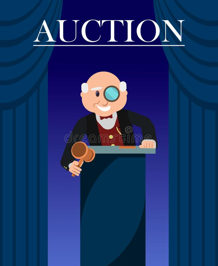 Old Man Auctioneer with Hammer between Curtains. Old Man Auctioneer with Hammer between Curtains Poster. Cartoon Character with Eyeglass or Monocle and Gavel royalty free illustration
