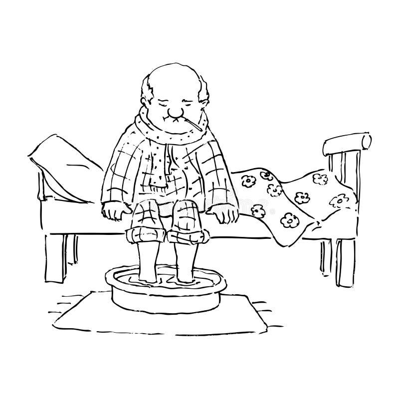 Download Old man in bed stock illustration. Image of elderly, disease - 22880566