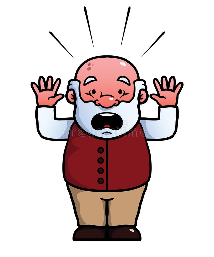 Download Old man being shocked stock vector. Image of brown, grandpa - 33292056