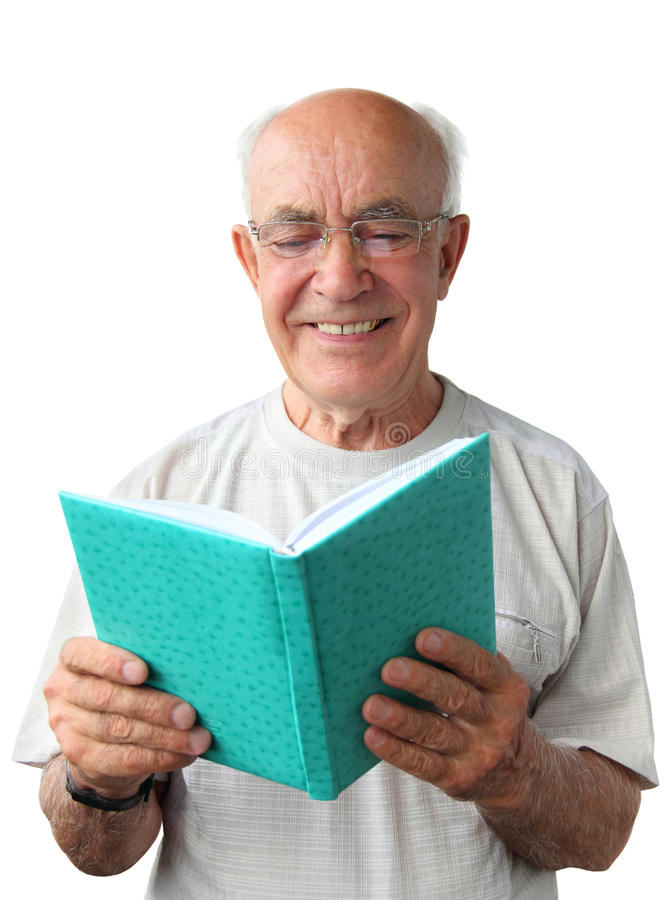 Old man with a book stock images