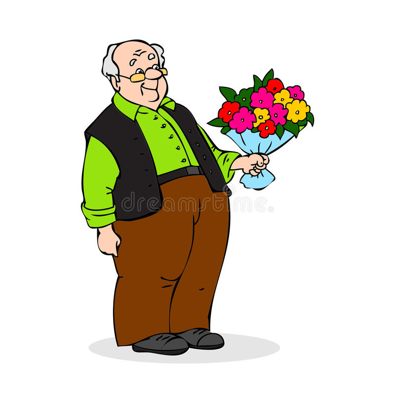 Old man with a bouquet of flowers. Smiling elderly man with glasses. Colorful cartoon vector illustration on white background. Old man with a bouquet of flowers vector illustration