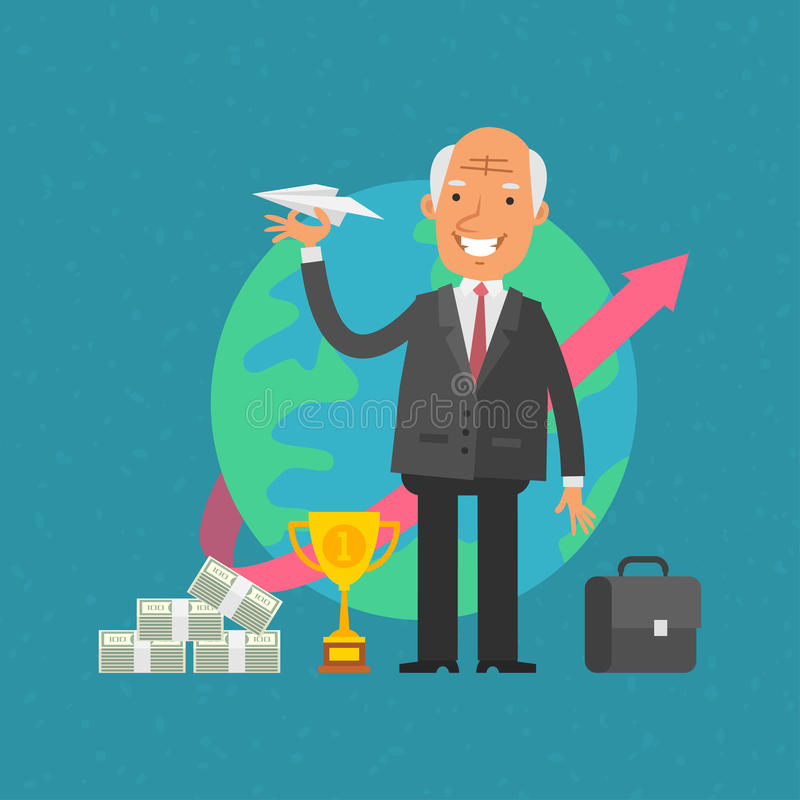Old man businessman holding paper airplane. Illustration, old man businessman holding paper airplane, format EPS 8 royalty free illustration