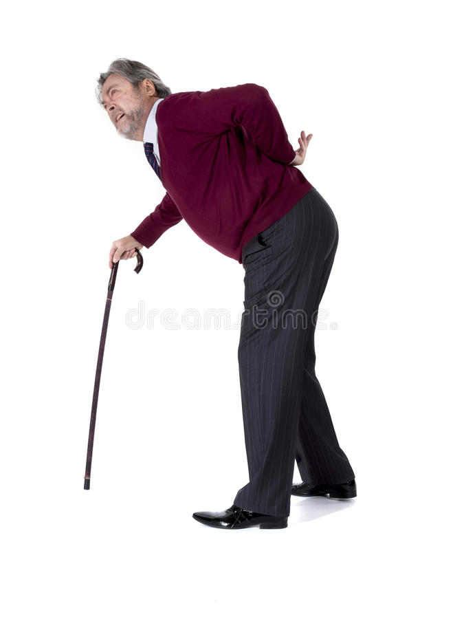 Old man with a cane royalty free stock photo