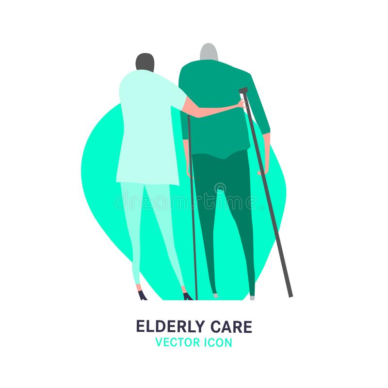 Nursing House Icon. The old man with a cane supported by a nurse. Elderly people problem. Medicine, healthy lifestyle concept. Editable vector illustration in vector illustration
