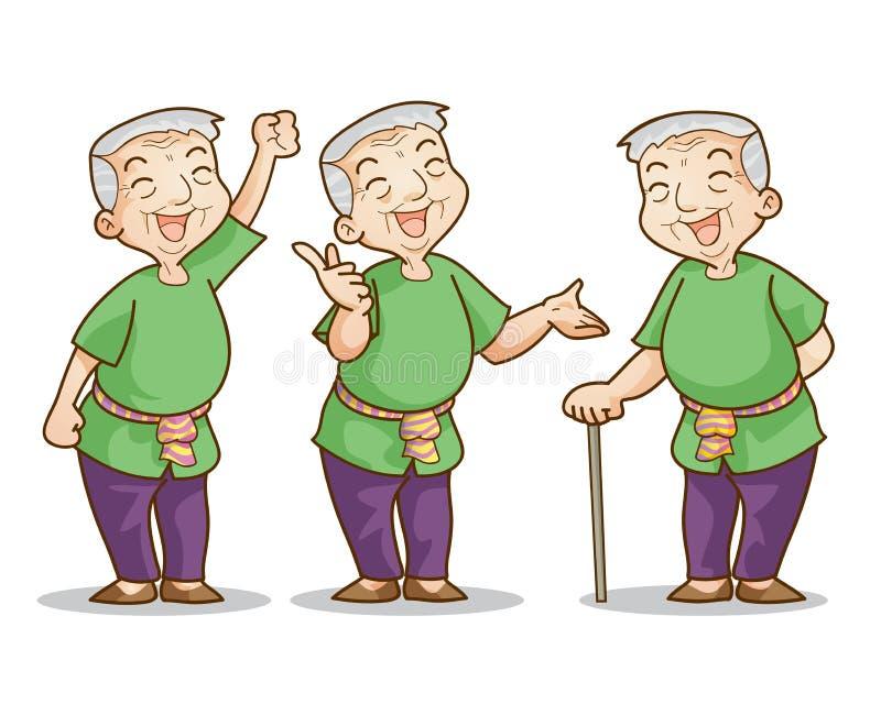 old man cartoon character set stock vector - illustration of grandpa